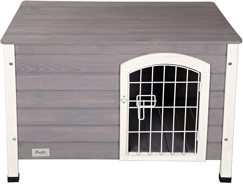 Petsfit Indoor Wooden Dog House with Wire Door