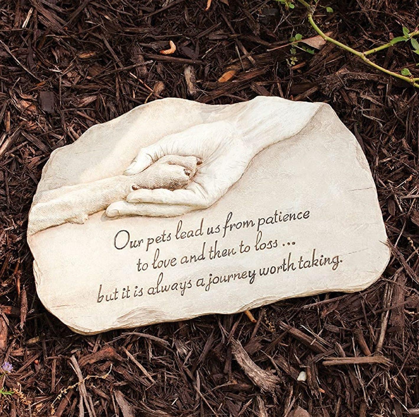 Evergreen Garden Pet Paw Print Devotion Painted Polystone