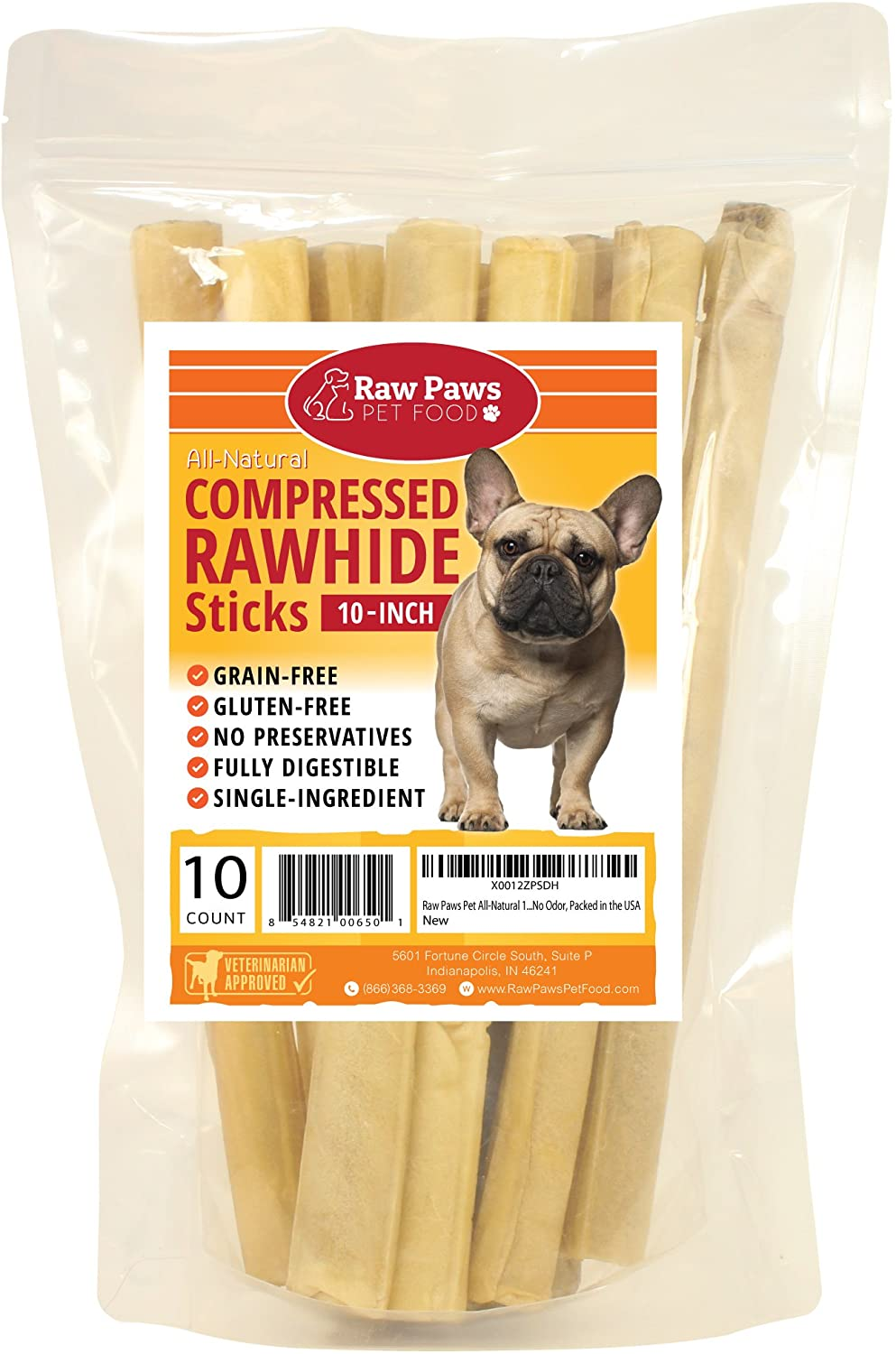 Raw Paws Compressed Rawhide Stick Dog Treats